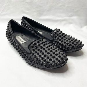 Steve Madden Black Studded Loafers